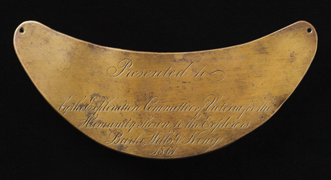 """Breastplate presented to the Yandruwandha people """"for the Humanity shewn to the Explorers Burke, Wills  King 1864"""