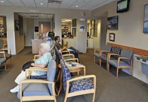 Gabe Souza/Staff Photographer: Photographed on Wednesday, June 22, 2011...Patients sit in the waiting room at the new Mercy primary care clinic on Route 1 in Yarmouth.